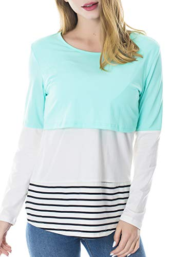 Product Image of the Smallshow Women's Long Sleeve Back Lace Maternity Nursing Tops Green Large