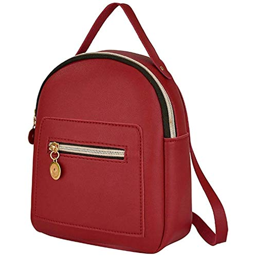 Mini Women's Backpack PU Leather Women's Bags Small Backpack Fashion red
