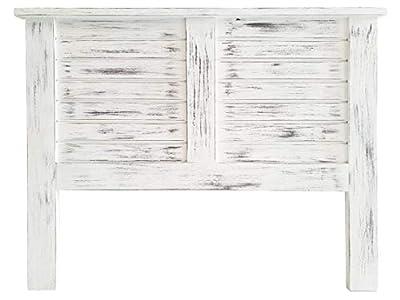 Materiales: Madera de pino macizo alistonada Acabados: Blanco envejecido Medidas: 160x120x3 (Ancho/Alto/Grosor)