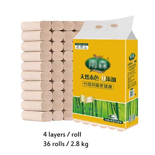 HYXXQQ Natuurlijke Ecologische Bamboe Toiletpapier, Toilet Tissues Pakket 36, de Zachte Huidvriendelijke Toilet Roll, voor Woonkamer Slaapkamer Toilet Keuken (4ply)