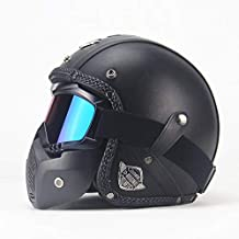 XuBa Unisex PU Leather Helmets 3/4 Motorcycle Chopper Bike Helmet Open Face Vintage Motorcycle Helmet with Goggle Mask for Men and Women, Black M
