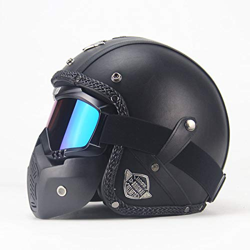 RONSHIN Hot Unisex PU Leather Helmets 3/4 Motorcycle Chopper Bike Helmet Open Face Vintage Motorcycle Helmet with Goggle Mask black L