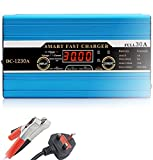 Yinleader Leisure Battery Intelligent Charger 30A 12V with LCD display 8A/12A/30 Amps Caravan Campervan Motorhome Boat Car (UK Plug)