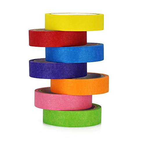 TradeGear Colored Masking Tape 7 Pk – 1 Inch x 15 Yards (45 Ft) - Rainbow Color General Purpose Craft Paper Tape – Perfect for Art, Labeling, Color Code, Classrooms, Painters, Kids, Home, Office, DIY Photo #3