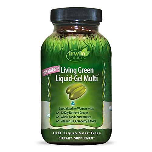 Irwin Naturals Womens Living Green Liquid-Gel Multi Vitamin - 70 Essential Nutrients, Full-Spectrum Vitamins, Wholefood Blend - Targeted Adrenal & Brain Support - 120 Liquid Softgels