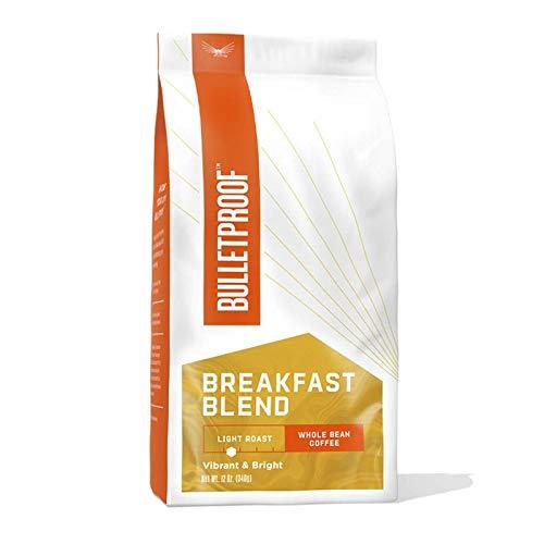 Breakfast Blend Whole Bean Coffee, Light Roast, 12 Oz, Bulletproof Luminate Keto 100% Arabica Coffee, Certified Clean Coffee, Rainforest Alliance, Sourced from Guatemala, Colombia & Brazil