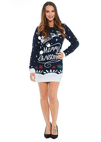ZEE FASHION Damen Tunika, Rentier-Motiv, lang, Retro-Stil Gr. S, Merry Christmas Navy