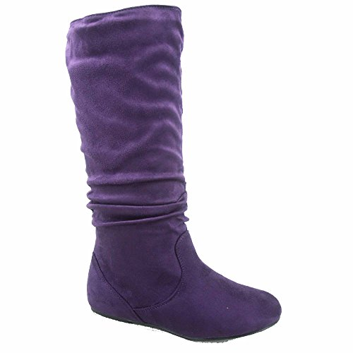 Top Moda Data-1 Women's Shoes Cute & Comfort Round Toe Flat Heel Slouchy Mid Calf Boot (6.5, Purple)