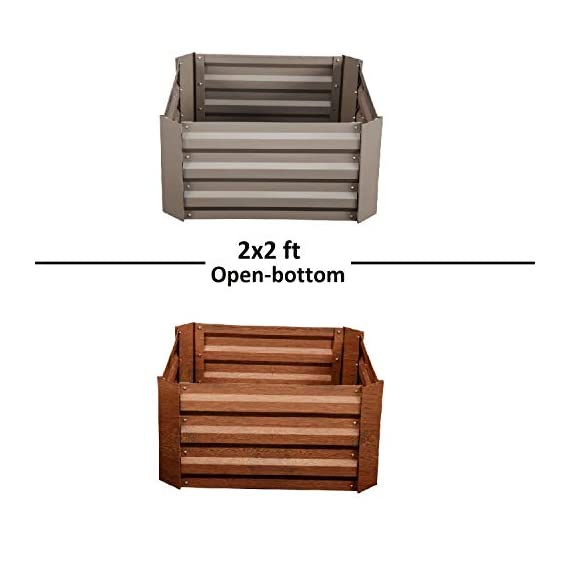 """Klismos 2'x2'garden bed metal outdoor galvanized steel planter box patio raised garden bed kit for vegetables/flower… 5 【overall dimensions】---- 94. 48""""(l)x47. 24""""(w)x11. 81""""(h) 【open-bottom garden bed】 【easy to assemble for the outdoor planter boxes】"""