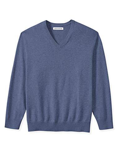 Amazon Essentials Men's Big & Tall V-Neck Sweater, Blue Heather, 3X Tall