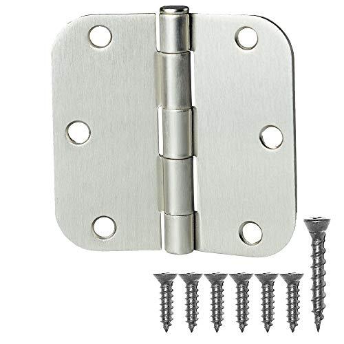 "18 Pack of Door Hinges Satin Nickel - 3 ½"" x 3 ½"" Inch Interior Hinges for Doors Brushed Nickel with 5/8"