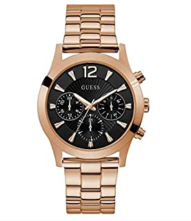 GUESS Women's Analog Watch with Stainless Steel Strap, Rose Gold, 17 (Model: U1295L4)