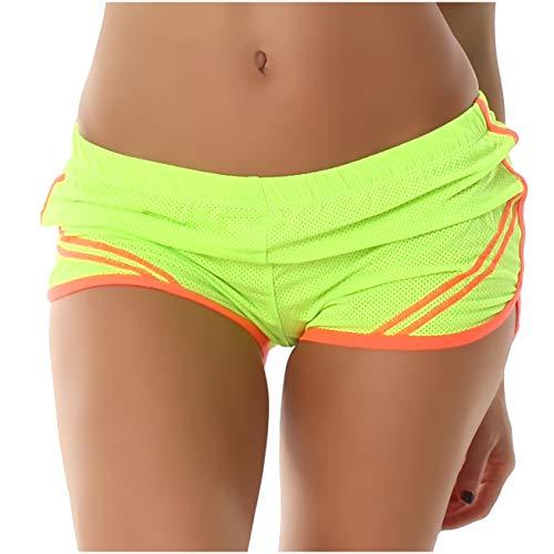 Voyelles Damen Sporthose, Kurze Sport Shorts in vielen eleganten Farbvariationen erhältlich 34 36 Hellgelb