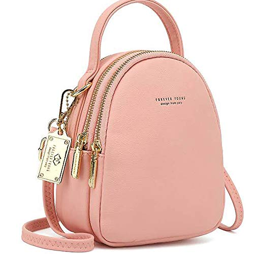 WANYIG Frauen Mini Rucksack Kleine Handy Schultertasche Damen PU Leder Daypack Tasche Umhängetasche Schulrucksäcke Handtasche Mini Casual Daypacks(Rosa)