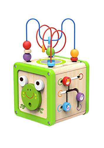 woody treasures Activity Cube Wooden Toys – Baby and Toddler Educational Centre with Bead Maze, Sorting and Color Recognition Activities – Fun Learning Activity Cube