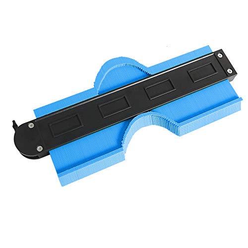 型取りゲージ コンターゲージ 250mm 測定ゲージ 測定工具プラスチック製 目盛付き ロック付き(ブルー)