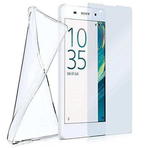 MoEx® Silikon-Hülle für Sony Xperia E5 | + Panzerglas Set [360 Grad] Glas Schutz-Folie mit Back-Cover Transparent Handy-Hülle Sony Xperia E 5 Hülle Slim Schutzhülle Panzerfolie