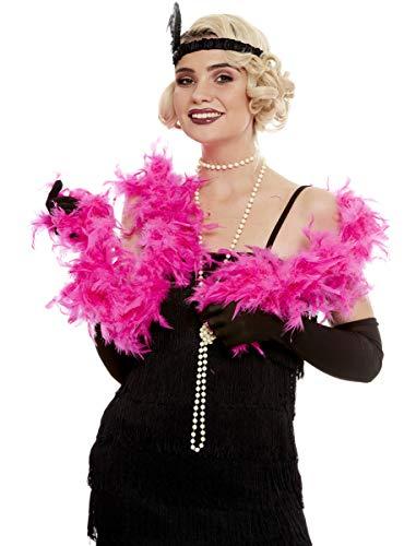 Funidelia | Boa de Plumas Rosa para Hombre y Mujer Aos 20, Cabaret, Gngster, Dcadas - Color: Rosa, Accesorio para Disfraz - Divertidos Disfraces y complementos