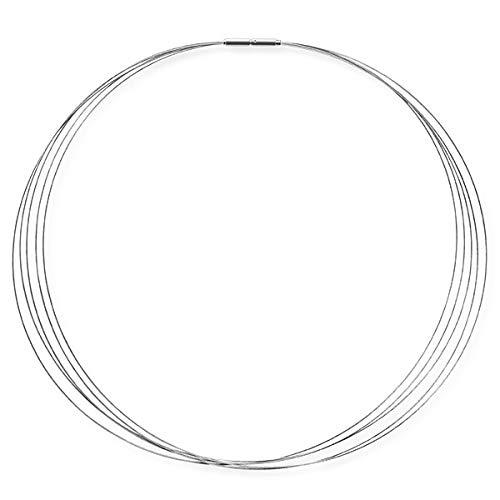 Drachenfels Luxus Halsreif aus Edelstahl | Fünfreihiger Stahlreif mit Edelstahlbajonett Ø 2.8 mm | Halsreif für Anhänger | Länge 42 cm |D ESC-5-42/ES