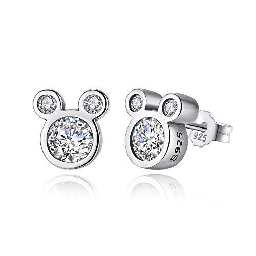 Shysnow 925 Sterling Silber Maus Ohrringe mit Weiß Zirkonias Geschenk für Mädchen Damen