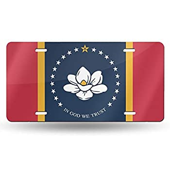 Facaile Mississippi State Flag Decorative Car Front License Plate,Vanity Tag,Metal Car Plate,6 X 12 Inch  4 Holes