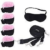 Amosfun Esposas Sexy Set Sm Bondage Kit Ajustable Cama Encuadernación Juguete para Pareja Amante Hombres Mujeres 1 Juego (Negro Rosa)