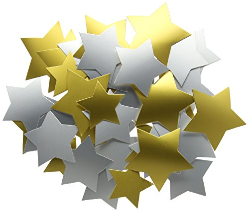 Creation Station Large Stars Card in Three Sizes, Pack of 50,Gold and Silver