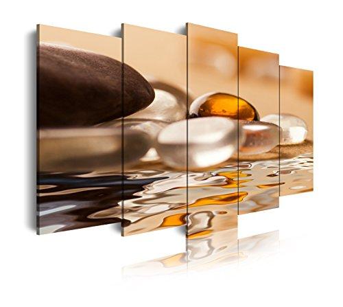 DekoArte 110 - Cuadros Modernos Impresión de Imagen Artística Digitalizada | Lienzo Decorativo para Tu Salón o Dormitorio | Estilo Zen Piedras y Agua Tonos Blancos Ocre Marron | 5 Piezas 150x80cm