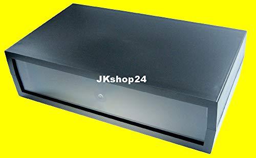 Stabiles Kunststoff-Gehäuse mit transparenter Frontplatte 284 x 160 x 76 mm Plastic-Case Gehäuse Kunststoff-Leergehäuse universal für PC-Komponenten, Lichtorgeln, LED, Platinen,Lautsprecher,Modellbau