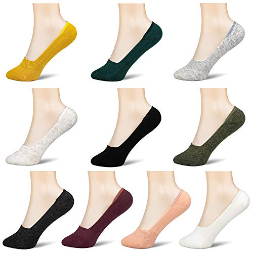 10 Pair Women 5-9 Socks Boat Low Cut Casual Thin Cotton No Show Deodorant Sock Non Slip Hidden Flat Line Colorful