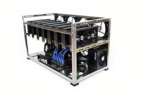Exa _ 8_ Alu–Universal 8GPUs, aus gebürstetem Aluminium Open-Air-Mining Rig Fall–ethereum, zcash, monero, Bitcoin Gold, decred