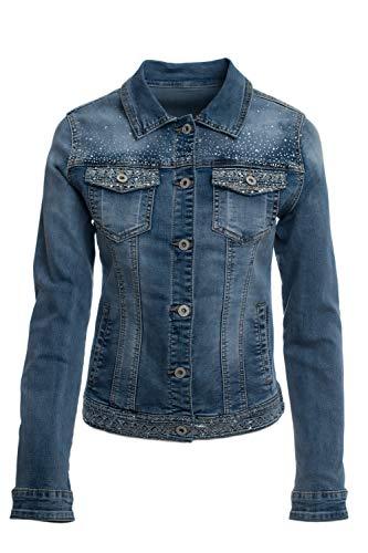JOPHY & CO. Giacca Jeans Denim Donna Corta Tasche e Rifiniture con Brillanti (cod. JC003) (s)