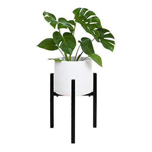 Macetero de suelo alto de metal ajustable de 24 a 37 cm de diámetro, soporte para macetas de suelo, estable para interior y exterior (negro)