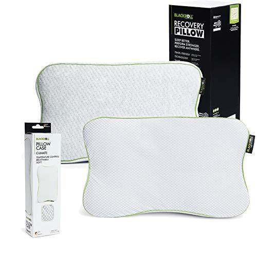 BLACKROLL Recovery Pillow im Set mit zusätzlichem Climate-Bezug – orthopädisches HWS Kissen mit Kopfkuhle (Nackenstützkissen) aus Viscose Memory Schaum - Made in Germany