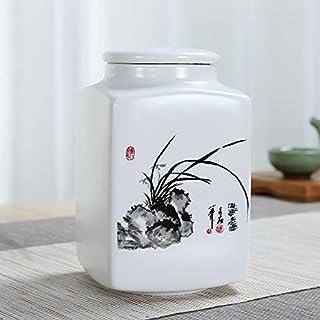 Orchidée Bamboo Impression Boîte à thé Organisateur Dry Fruit Stockage Bocons Café Conteneur Ceramic Tea Becin 10 * 14.8cm...
