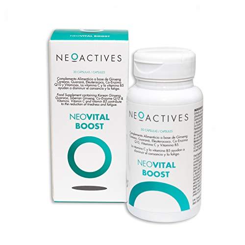 NeoVital Boost   Ginseng coreano, eleuterococo, guaraná, vitamina C y Vitamina B5   Ayuda a disminuir el cansancio y la fatiga   Complemento concentrado, solo 1 capsula día   30 Capsulas