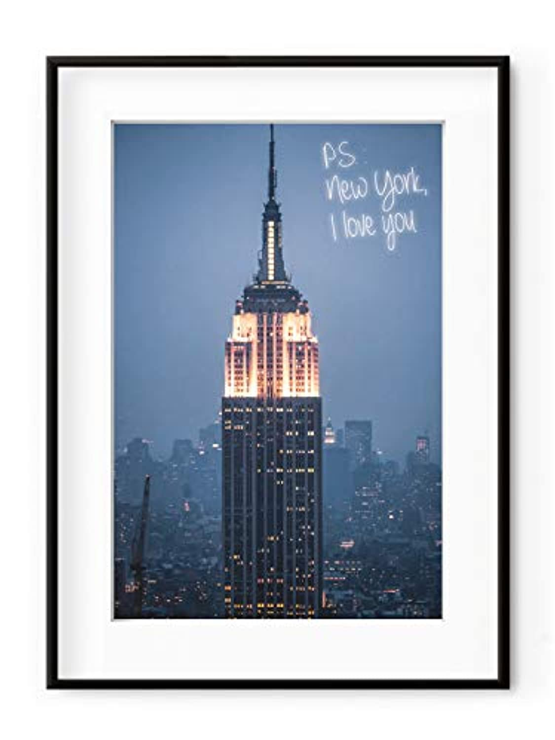 PS: New York I Love You, White Lacquer Wooden Frame, with Mount, Multicolored, 30x40