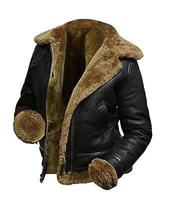 UGFashions Women's B3 Hooded Fur Artificial Shearling Aviator Pilot Flight Sheepskin Bomber Black Leather Jacket