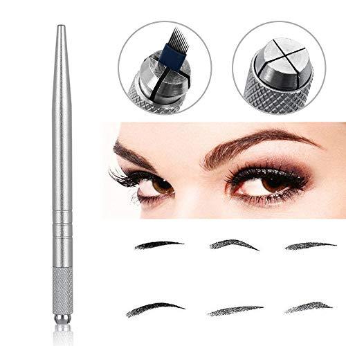 Pinkiou Augenbrauen Tattoo Stifte Manual Microblading Pen für Brow Makeup (Silber)