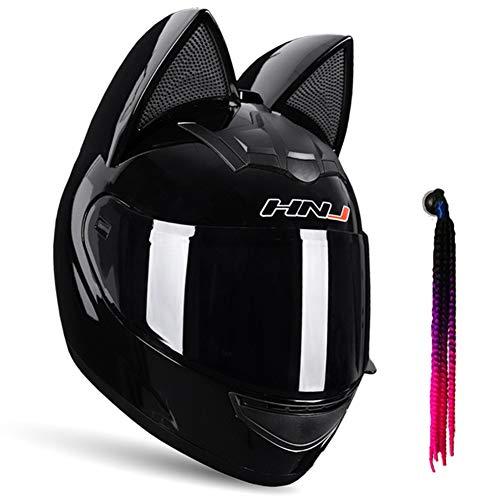 DYJD Cat Ears Helmet,Motorcycle Helmet with Cat Ear,Creative Horn Off Road Motocross Helmet for Men & Women,Black,L