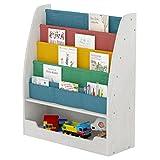 SeiriOne Kids Bookshelf,2 in 1 Design, 4 Sling Children's Bookcase Display Stand with 1 Cabinet for Kid Toy Storage Organizer, White