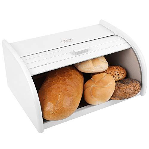 Creative Home Weiß Roll-Brotkasten aus Buchen-Holz | 40 x 27,5 x 18,5 cm | Perfekte Brot-Box für Brot, Brötchen und Kuchen | Brot-Kiste mit Roll-Deckel | Natürlich | Brotbehälter für Jede Küche