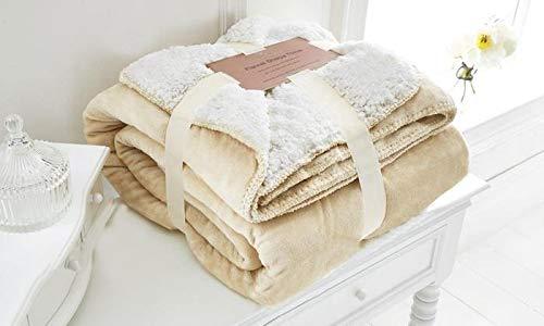 EDS Creme Soft-Sherpa Schlafsofa Decke Große Abmessungen, geringes Gewicht und All Season Werfen/Decke für Bett und Couch, (Creme, groß)