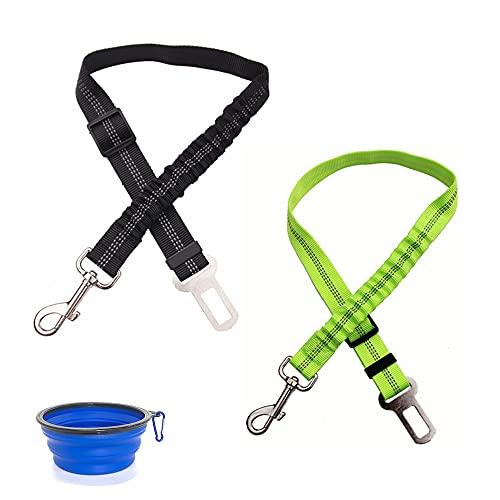 Adjustable Pet Car Seatbelt Elastic Buffer Reflective Dog Seat Belt Dog Harness Cat Harness Safety Pet Seatbelt (Black+Green)