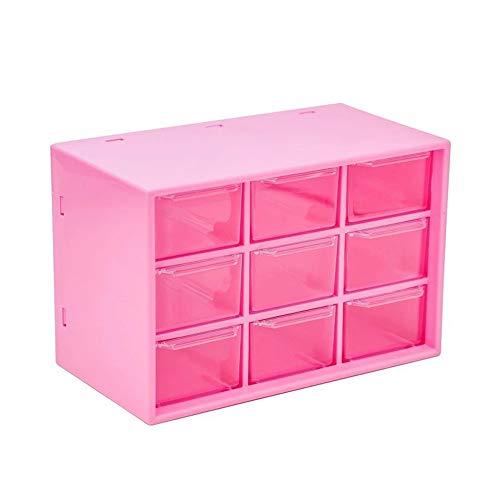 luckiner Caja de almacenamiento de escritorio Jiugongge cosmético de joyería caja de almacenamiento de aparador cajón organizadores ropa interior calcetines ropa roja