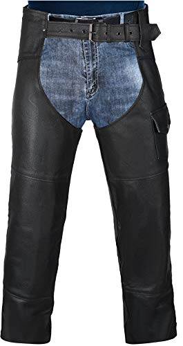 HWK Motorcycle Leather Chaps Pants Biker Cowboy Riding Racing Black Genuine Leather Chap (Waist 38'')