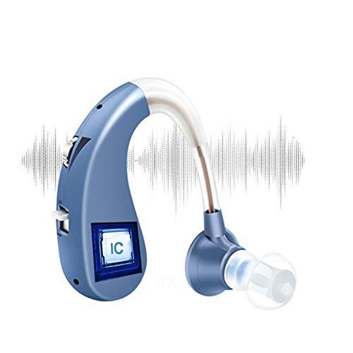 BJ&HH El Dispositivo Auxiliar para Audífonos Detrás De Los Tapones para Los Oídos Es Un Dispositivo En Miniatura Recargable por USB para Personas Mayores con Audición,Azul