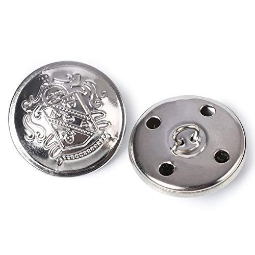 Retro Metal vástago botones traje abrigo botones decorativos accesorios de costura cierre Pack de 12, Plata, Plateado, 25 mm