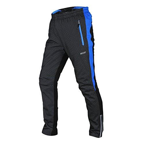 Tofern Pantaloni sportivi outdoor antivento termici con fodera in pile per uomo Medium (Vita 70-93cm) 28-36 pollici) Nero e blu