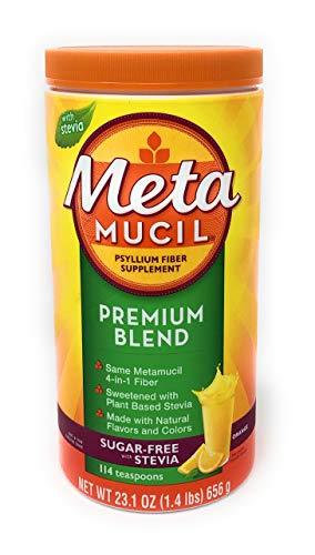 Metamucil Premium Blend Sugar Free Fiber, 114 Servings, Psyllium Husk Fiber Powder Supplement, with Stevia, Natural Orange Flavor 23.1 oz